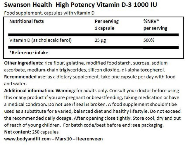 High Potency Vitamin D3 1000IU Nutritional Information 1