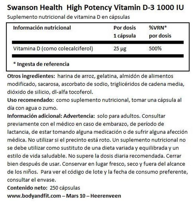 High Potency Vitamin D-3 1000 UI Nutritional Information 1