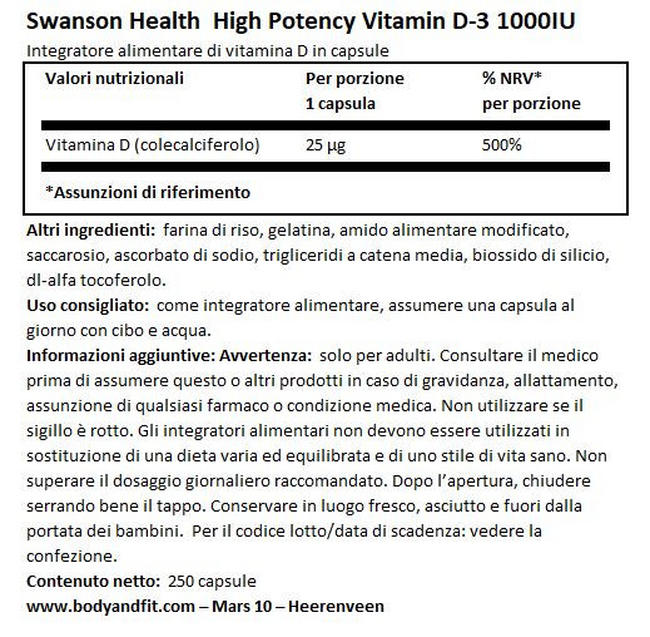 High Potency Vitamin D3 1000IU Nutritional Information 1