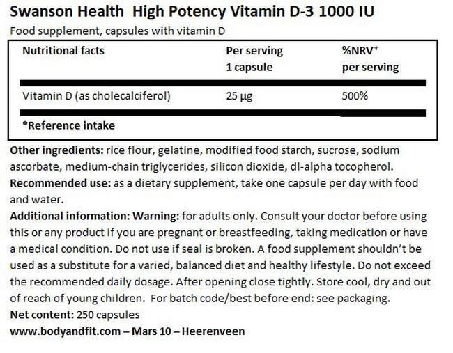 高効力ビタミンD3 1000IU Nutritional Information 1