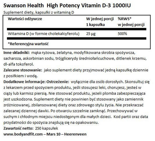High Potency Vitamin D3 1000 IU Nutritional Information 1