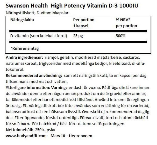High Potency Vitamin D-3 1000IU Nutritional Information 1