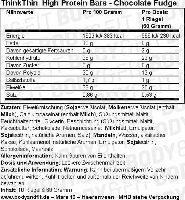 High Protein Bars Nutritional Information 1
