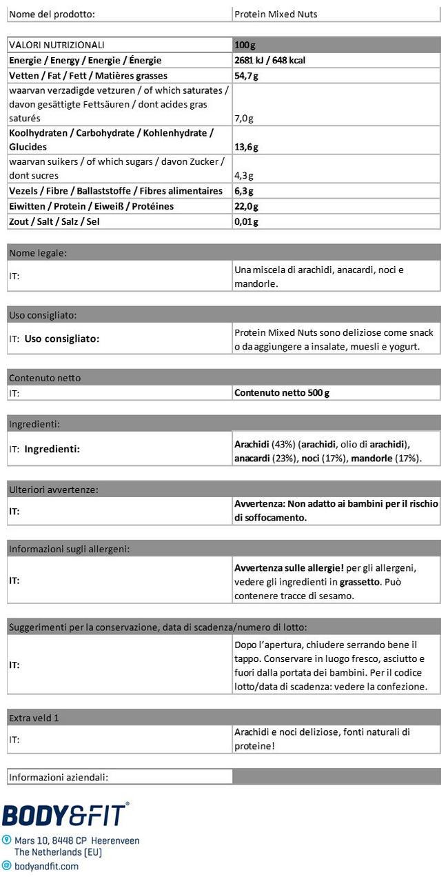 Noci Miste Proteiche  Nutritional Information 1