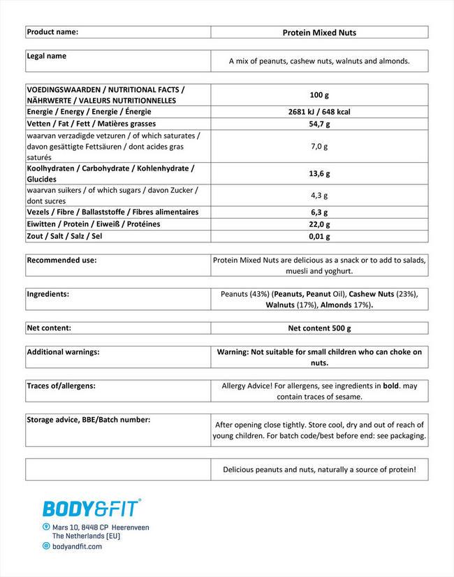 プロテインミックスナッツ Nutritional Information 1
