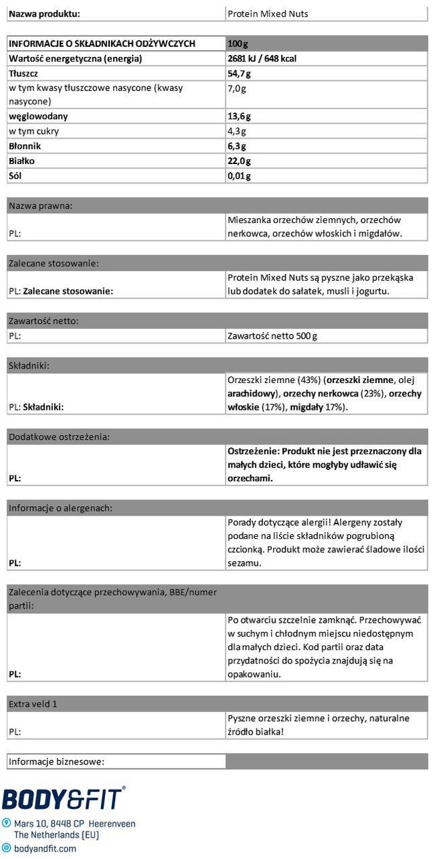 Białkowa mieszanka orzechów Nutritional Information 1