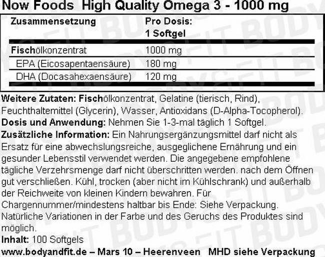 Omega-3 Basis Nutritional Information 1