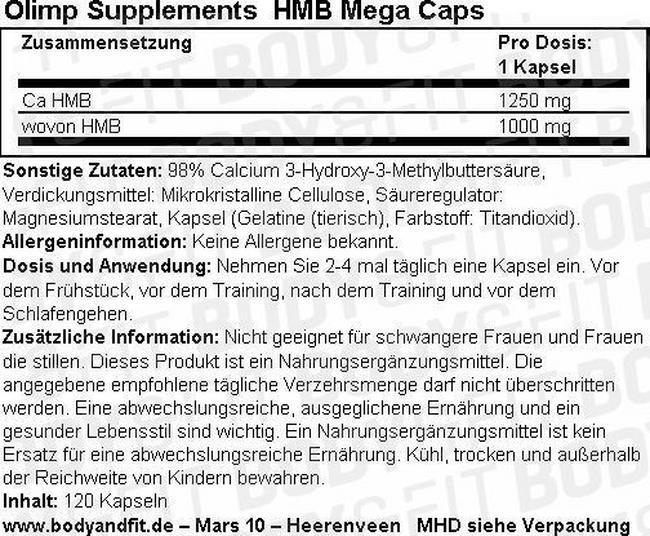 HMB Mega Caps Nutritional Information 1
