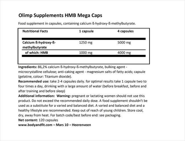 HMBメガカプセル Nutritional Information 1