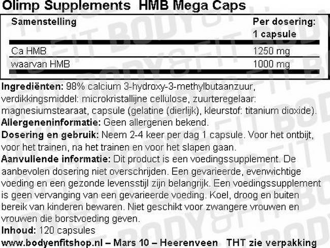 HMB Mega Caps Nutritional Information 1