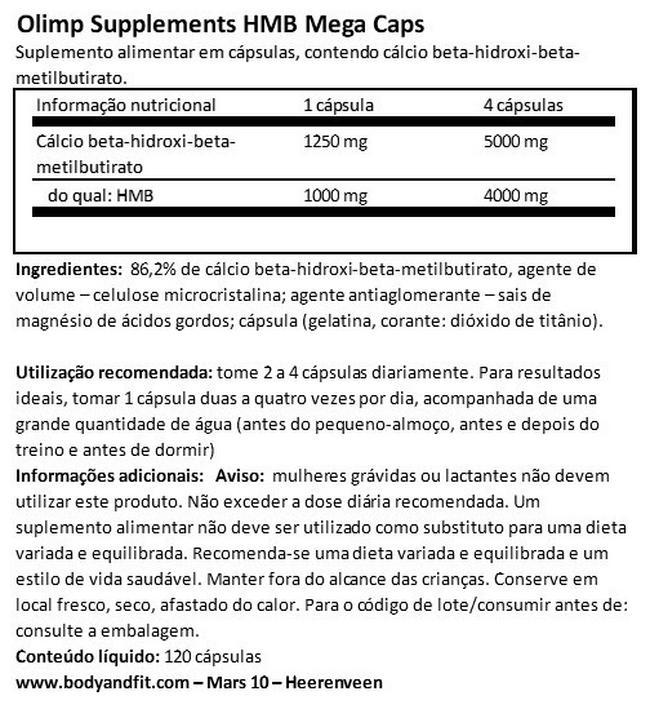 HMB Mega Cápsulas Nutritional Information 1