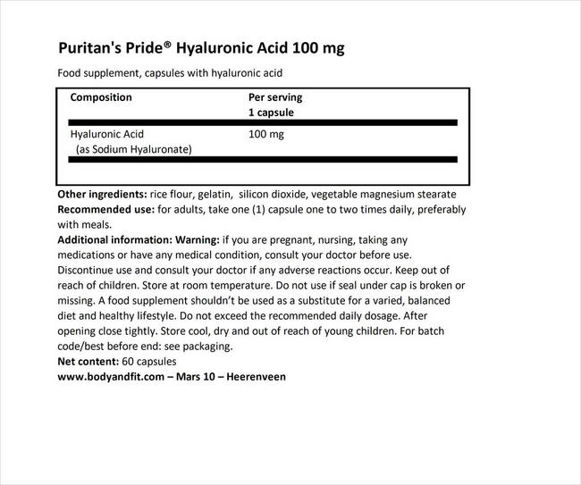 Puritan's Pride ヒアルロニックアシッド - 100mg Nutritional Information 1