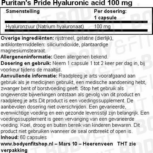 Puritan's Pride Hyaluronic Acid - 100mg Nutritional Information 1