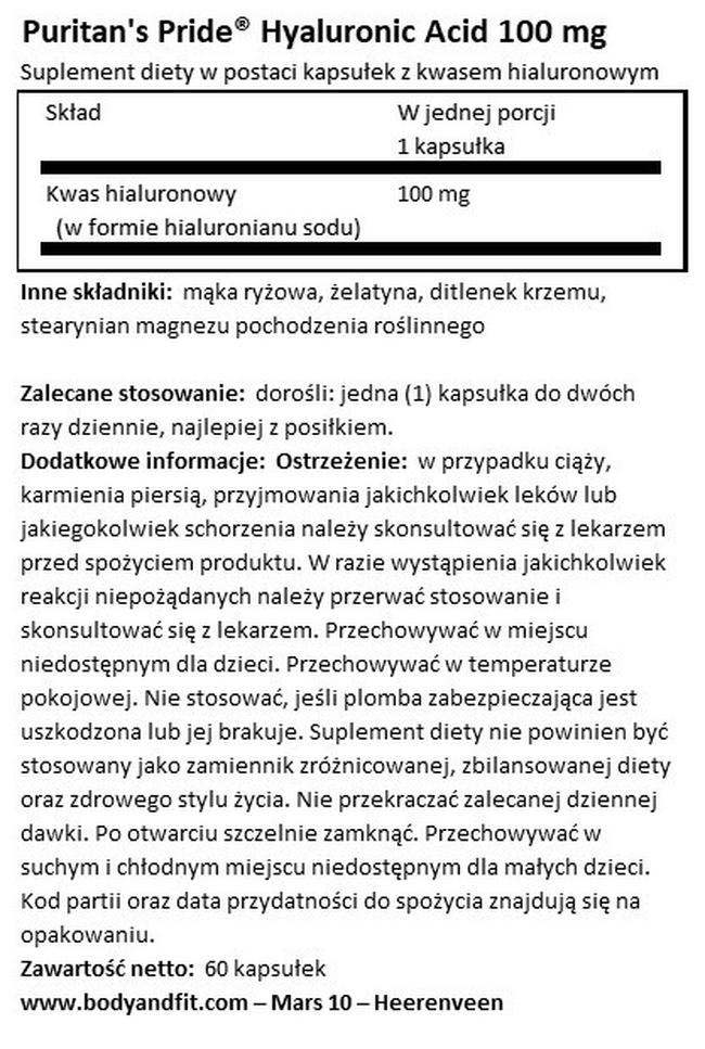 Hyaluronic Acid 100mg Nutritional Information 1