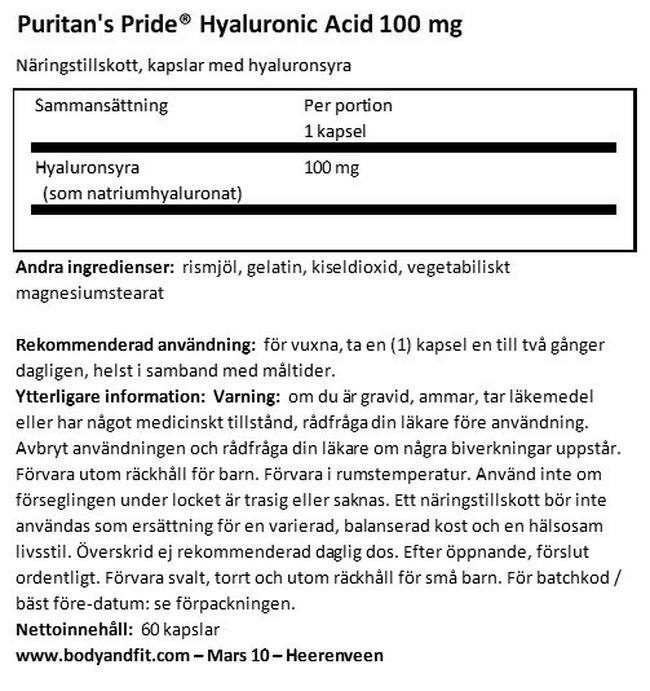 Hyaluronic Acid 100 mg Nutritional Information 1