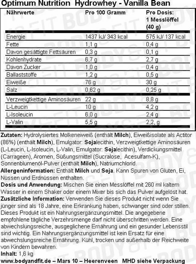 Hydrowhey Nutritional Information 1