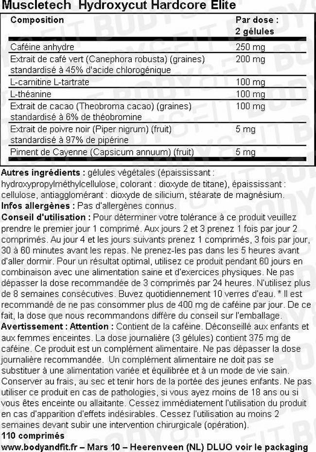 Hydroxycut Hardcore Elite Nutritional Information 1