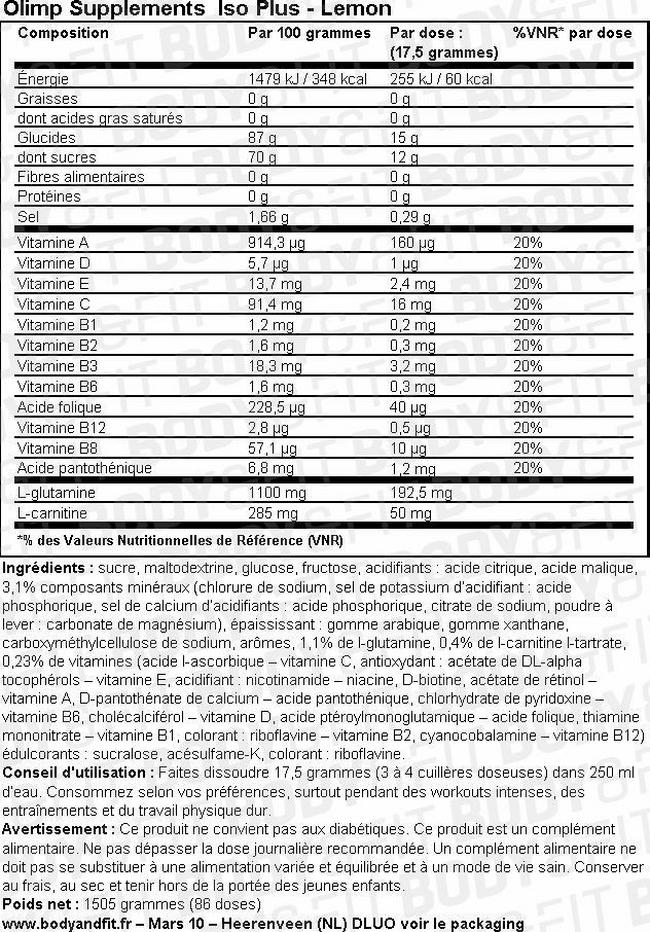 Boisson Iso Plus Nutritional Information 1