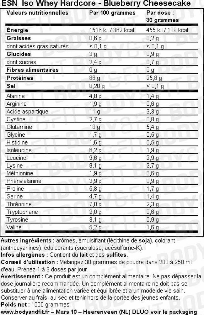Poudre Iso Whey Hardcore Nutritional Information 1
