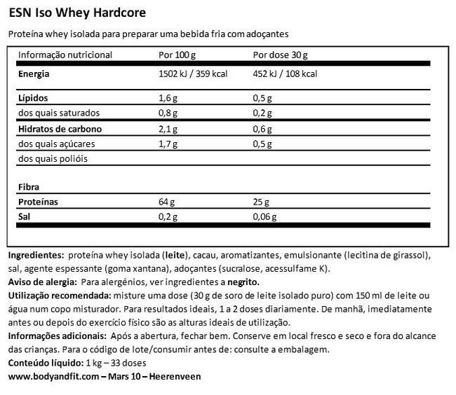 Iso whey radical Nutritional Information 1
