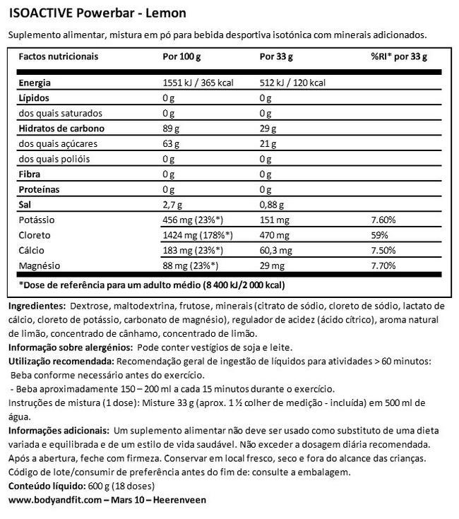 Isoactive Powerbar Nutritional Information 1