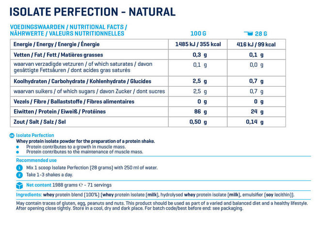Isolate Perfection Nutritional Information 1