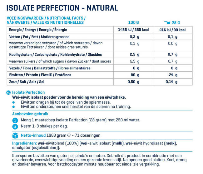 Isolaat Perfection Nutritional Information 1