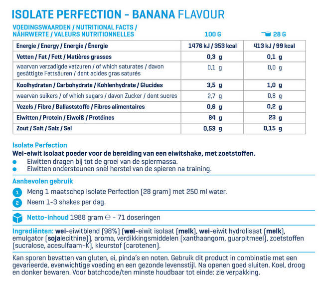 Isolate Perfection Nutritional Information 2