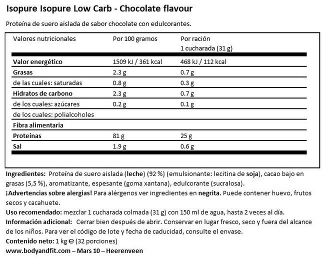 Isopure Nutritional Information 1