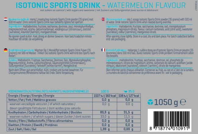 Isotone Sportdrank Nutritional Information 1