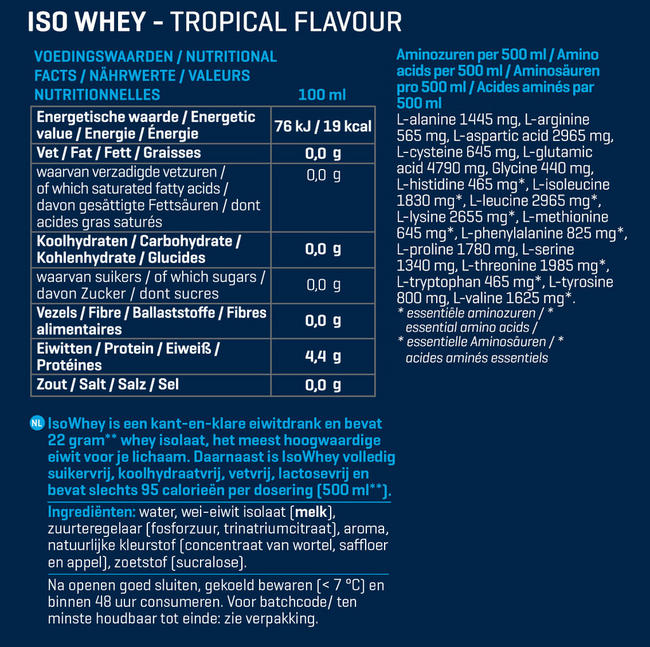 IsoWhey Nutritional Information 1