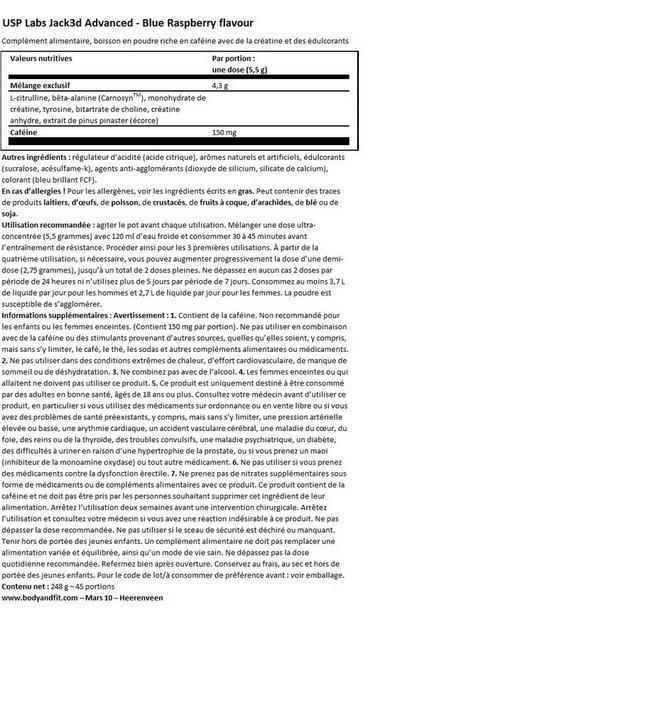 Jack3d Advanced Nutritional Information 1