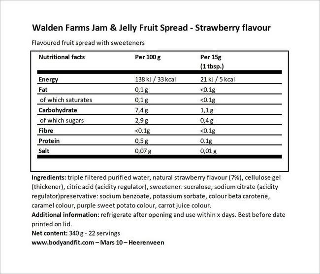 Confitures Jam & Jelly Fruit Spread Nutritional Information 8