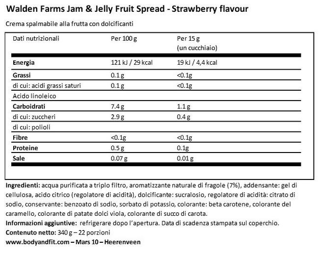 Marmellata Jam & Jelly Nutritional Information 1