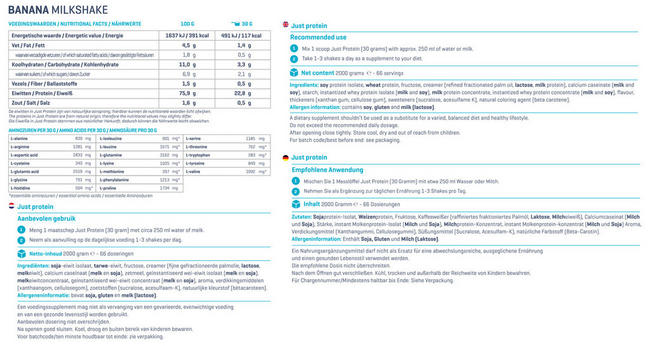 Just Protein Nutritional Information 1