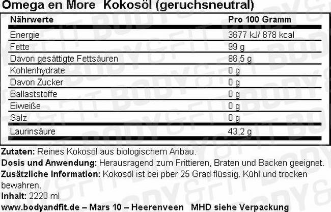 Kokosöl (geruchlos) Nutritional Information 1