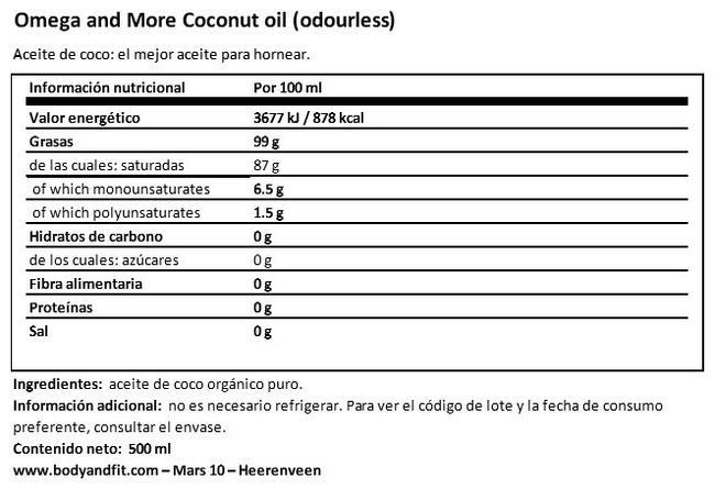 Aceite de coco Nutritional Information 1