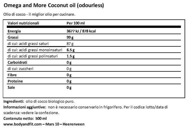 Olio di cocco Nutritional Information 1