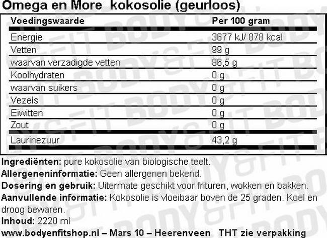 Kokosolie (geurloos) Nutritional Information 1