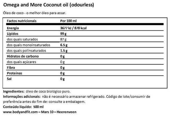 Óleo de coco Nutritional Information 1