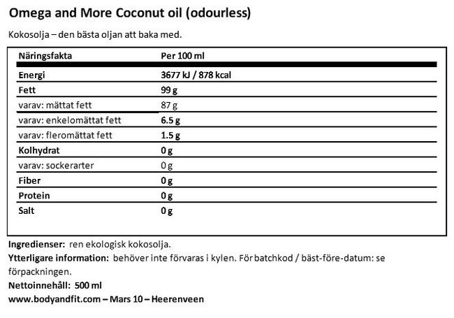 Kokosolja Nutritional Information 1