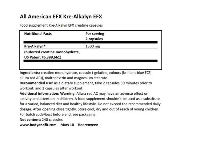 Kre-Alkalyn EFX Nutritional Information 1
