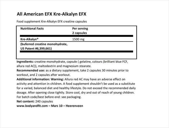 크레-알칼린 EFX Nutritional Information 1