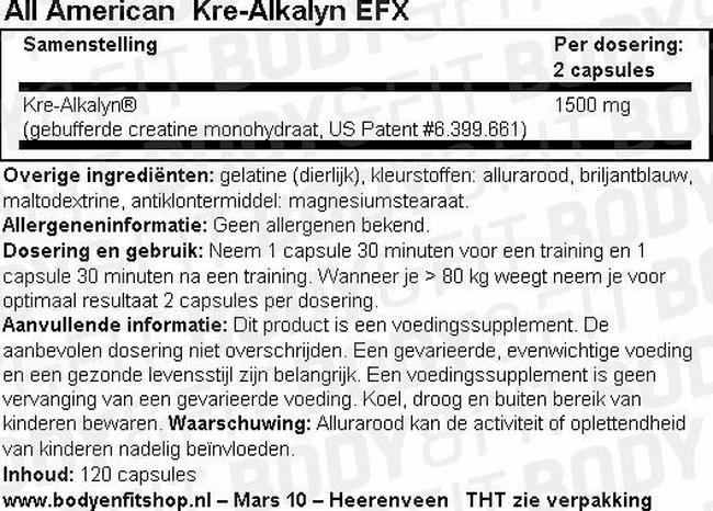 Kre-Alkalyn EFX (U.S patent 6,399,661) Nutritional Information 1