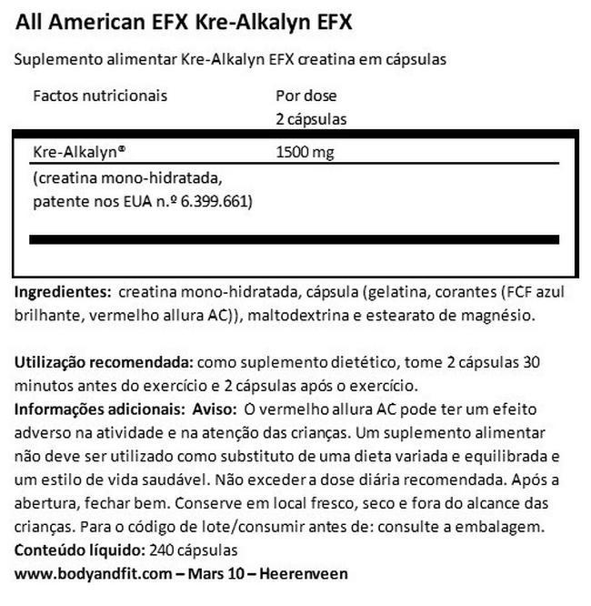 Kre-Alkalyn EFX Nutritional Information 1