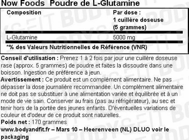 L-Glutamine en poudre Nutritional Information 1