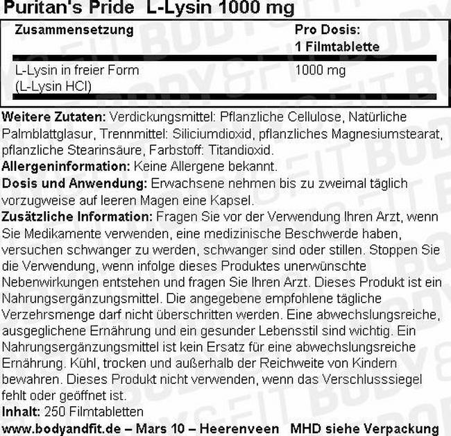 L-Lysine 1000 mg Nutritional Information 1