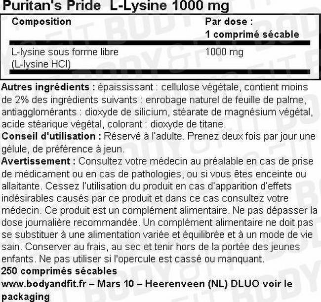 Gélules de L-Lysine 1000mg Nutritional Information 1