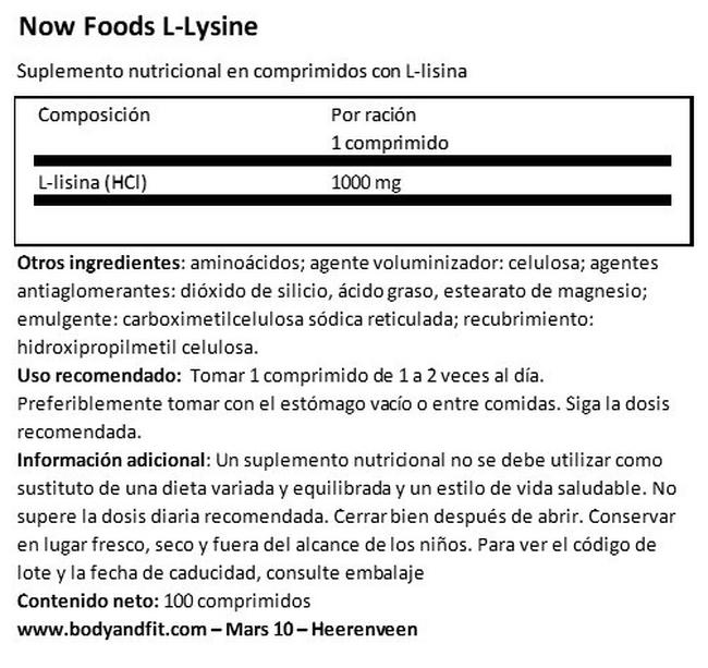 L-Lysine Nutritional Information 1