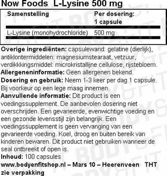 L-Lysine Nutritional Information 1